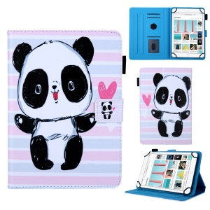 8-inch Universal Patterned Leather Stand Cover for Huawei MediaPad T3 8.0 / iPad mini 5, etc - Panda