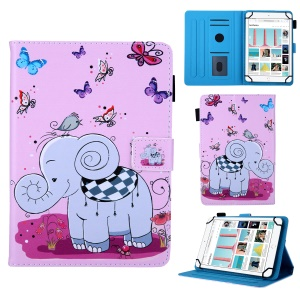 8-inch Universal Patterned Leather Stand Cover for Huawei MediaPad T3 8.0 / iPad mini 5, etc - Elephant