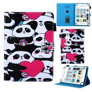 8-inch Universal Patterned Leather Stand Cover for Huawei MediaPad T3 8.0 / iPad mini 5, etc - Group of Panda