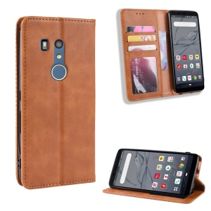 Auto-absorbed Vintage Style PU Leather Wallet Case for Fujitsu Arrow Be3 F-02L - Brown