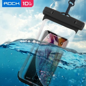 ROCK Universal IPX8 High Waterproof Touch-friendly Phone Pouch Bag with Lanyard for iPhone Samsung Huawei etc. - Black