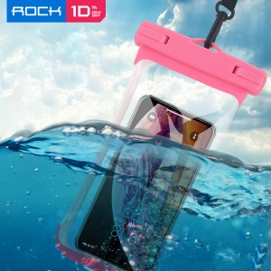 ROCK Universal IPX8 High Waterproof Touch-friendly Phone Pouch Bag with Lanyard for iPhone Samsung Huawei etc. - Pink