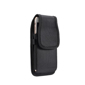 Universal Clip Oxford Cloth Hanging Waist Bag Card Holder Pouch Men Mobile Phone Bag for 5.7-6.3 inch Smartphones - Black