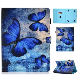 Universal 7-inch Pattern Printing Card Slots Stand Leather Tablet Cover - Blue Butterflies