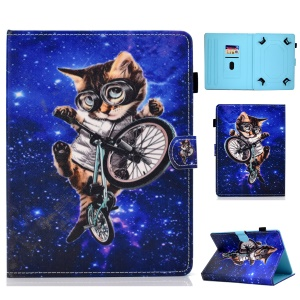 Universal 7-inch Pattern Printing Card Slots Stand Leather Tablet Cover - Cycling Cat