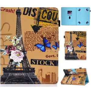 Universal 7-inch Pattern Printing Card Slots Stand Leather Tablet Cover - Eiffel Tower