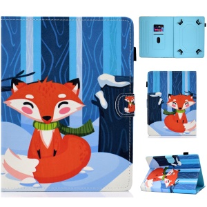 Universal 7-inch Pattern Printing Card Slots Stand Leather Tablet Cover - Fox