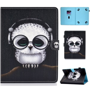 Universal 7-inch Pattern Printing Card Slots Stand Leather Tablet Cover - Owl Wearing Headphones