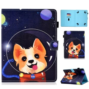 Universal Pattern Printing Card Slots Stand Leather Protective Case for 8-inch Tablet - Aerospace Dog