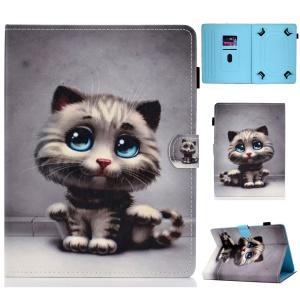 Universal Pattern Printing Card Slots Stand Leather Protective Case for 8-inch Tablet - Cat with Blue Eyes
