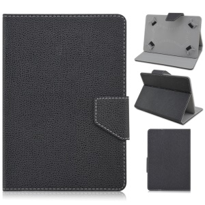 Universal Litchi Leather Cover Case for Samsung Galaxy Tab 3 7.0 / Tab 2 7.0 Etc - Black