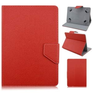 Universal Litchi Stand Leather Cover for Samsung Galaxy Tab 3 7.0 / Tab 2 7.0 Etc - Red