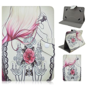Universal Stand Leather Cover for Galaxy Tab 3 7.0 / Amazon Kindle Fire, Size: 195 x 125mm - Tattoo Girl Sketches