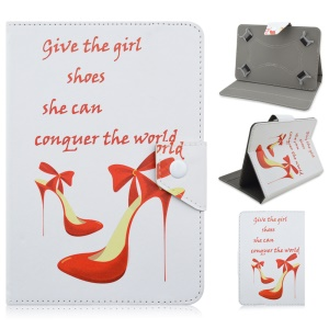 Universal Leather Cover for Samsung Tab E 9.6 / iPad Air 2, Size: 265 x 177mm - Quote & High-heel Shoe