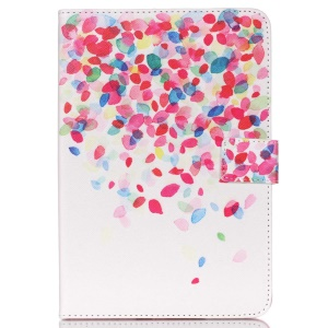 Wallet PU Leather Shell for Samsung Galaxy Tab E 9.6 - Colorful Petals