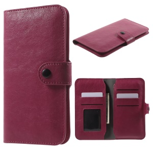 PU Leather Case Wallet Card Holder for iPhone 6s/6, Size: 140 x 68 x 10mm - Rose