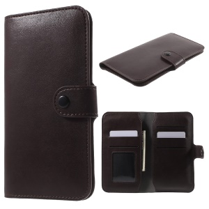 Wallet Purse Leather Cover for iPhone 6s/6, Size: 140 x 68 x 10mm - Coffee