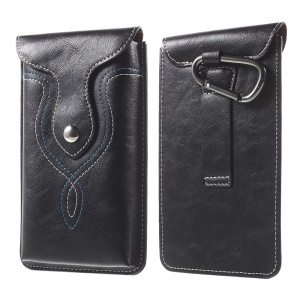Vertical Leather Pouch with Carabiner for iPhone 6s Plus, Size: 159 x 83mm - Black