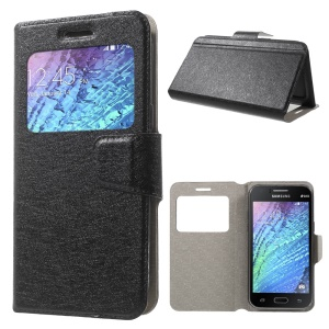 Silk Texture Window Leather Case for Samsung S4 mini, Size: 130 x 65mm - Black