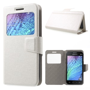 Silk Texture Window Leather Case for Samsung S4 mini, Size: 130 x 65mm - White