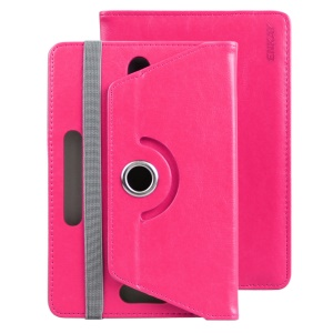 ENKAY Crazy Horse Elastic Hooks Rotary Stand Case for Samsung Galaxy Tab E 9.6/Tab S2 9.7 - Rose