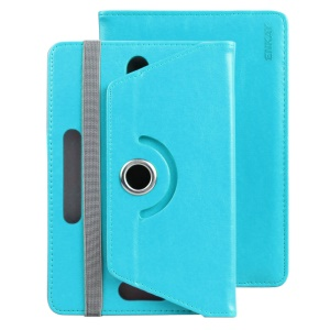 ENKAY Crazy Horse Elastic Hooks Rotary Stand Case for Samsung Galaxy Tab E 9.6/Tab S2 9.7 - Baby Blue