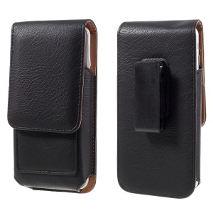 Clip Leather Pouch Case with Card Slot for iPhone 6s 6 Size: 14 x 7 x 1.5cm - Black