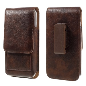 Belt Clip Leather Pouch Case for Samsung Galaxy S7, Size: 15 x 8 x 1.8cm - Brown