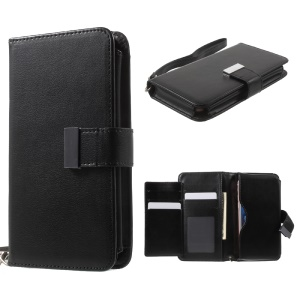 Wallet Purse Leather Case for iPhone 7 6s 6, Size: 140 x 70 x 12mm - Black