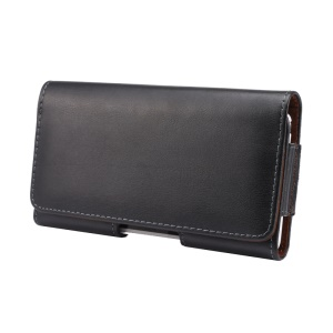 Genuine Leather Case Holster Pouch for Samsung iPhone Huawei Xiaomi with Belt Clip - Black