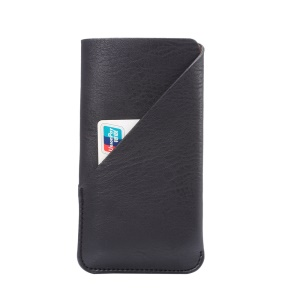 Elephant Skin PU Leather Pouch Case for iPhone 8 X Samsung S7/Sony Xperia X, Size: 154 x 82mm - Black