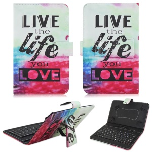 Universal Keyboard Leather Tablet Stand Case for Samsung Galaxy Tab 8.9 P7300 - Love Life