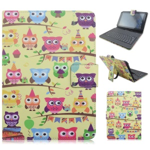 Universal Keyboard Leather Tablet Flip Case for Samsung Galaxy Tab 8.9 P7300 - Owl Family