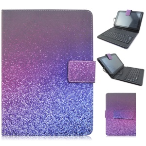 Mini Keyboard Leather Cover with USB Cable for Samsung Galaxy Tab Pro 8.4 T320, Micro USB Port - Purple Flash Powder