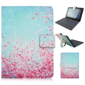 Mini Keyboard Leather Smart Cover with USB Cable for Samsung Galaxy Tab Pro 8.4 T320, Micro USB Port - Cherry Blossoms