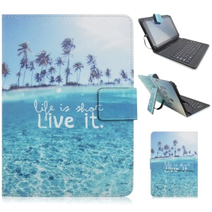 Mini Keyboard Leather Tablet Case with USB Cable for Samsung Galaxy Tab Pro 8.4 T320, Micro USB Port - Life is Short So Live It