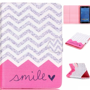 Universal Leather Tablet Cover for Samsung Galaxy Tab 4 7.0 T230 -  Chevron & Smile
