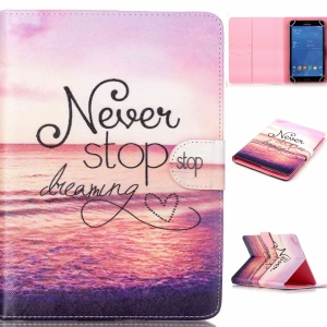 Universal Tablet Leather Stand Shell for Samsung Galaxy Tab 4 7.0 T230 - Quote Never Stop Dreaming
