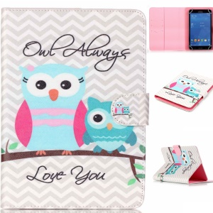 Universal Patterned Leather Tablet Shell for Samsung Galaxy Tab 4 7.0 T230 - Two Lovely Owls