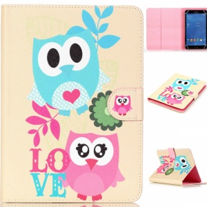 Universal Wallet Leather Tablet Cover for 7 inch Tablet - Owls & Love