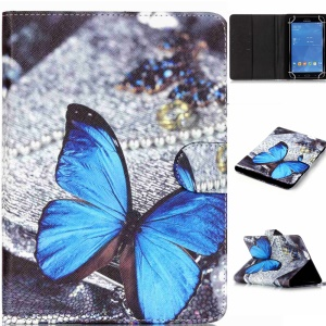 Universal Patterned Leather Tablet Case for Samsung Galaxy Tab 4 7.0 T230 - Blue Butterfly