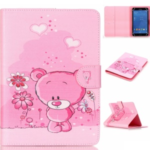 Universal Leather Wallet Case for iPad mini 4/3/2/1, Size: 200x130mm - Pink Bear