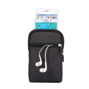 Estojo universal da bolsa da cintura do gancho de Jean Cloth para iPhone 6s Plus / Samsung Galaxy Mega 6.3 I9200 - negro