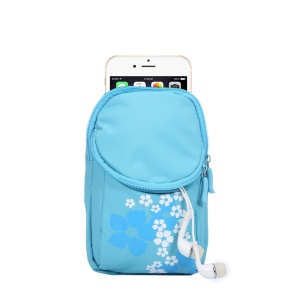 Cycling Sports 2-Compartment Armband Bag for Galaxy S7/S6, Size: 15x9.5x2cm - Baby Blue