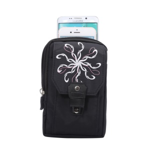Polyester Belt Clip Hook Loop Pouch Case for iPhone 7 Plus/ 6s Plus/Samsung Galaxy S6 edge+ - Black Swirl Flower