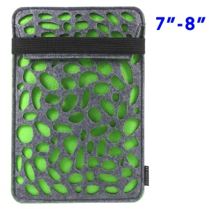 Hollow Tablet Sleeve Felt Shell with Elastic Strap for iPad Mini 4/3/2 - Green