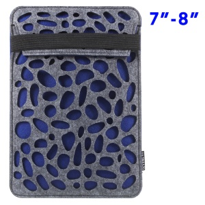Hollow Tablet Sleeve Felt Protective Case with Elastic Strap for iPad Mini 4/3/2 - Blue