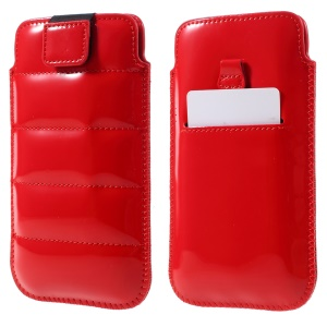 Universal Glossy Leather Sleeve Cover for iPhone 6s Plus/Samsung Galaxy S7 edge etc, Size: 16 x 9cm - Red