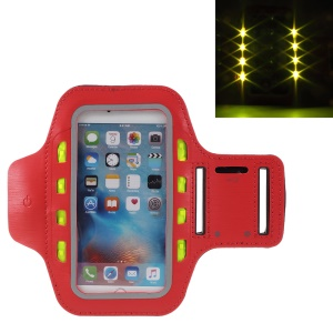 LED Flash Mobile Phone Running Armband Pouch for iPhone 6s Plus/Samsung Galaxy A9 (2016) - Red