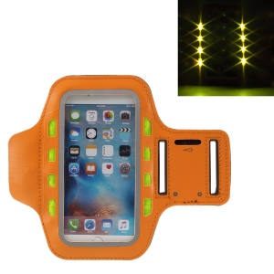 LED Flash Mobile Phone Sports Neoprene Armband for iPhone 6s Plus/Samsung Galaxy A9 (2016) - Orange